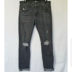 7 For All Mankind Womens Gray Destroyed High Rise